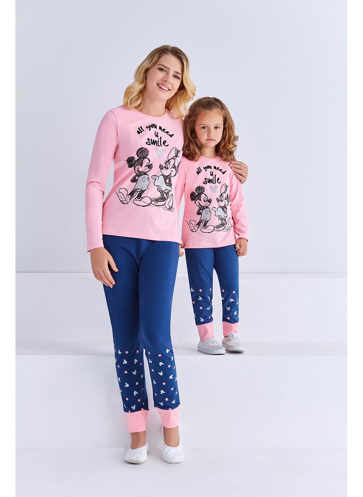 Mickey Mouse Mickey & Minnie Mouse Lisanslı Kadın Pijama Takımı Açık Pembe D4005-S Mickey Mouse Lisanslı Kadın Pija